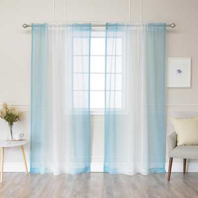 Best Home Fashion 84 in. L Ocean (Blue) Sheer Faux Linen Rod Pocket Ombre Border Curtain (2-Pack) - Home Depot