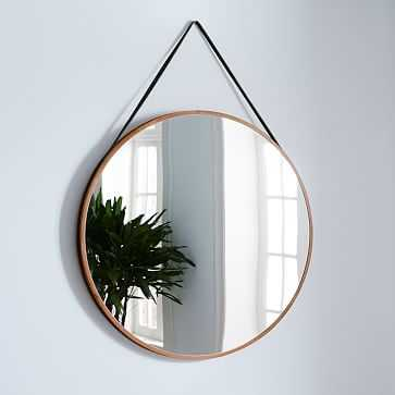 "Modern Hanging Oversized Mirror, Walnut/Black, 36"" - West Elm"