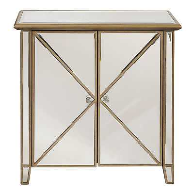 Meridian Right 2 Home Pulaski Glam Collection Two Door Mirror Accent Chest, Gold - eBay