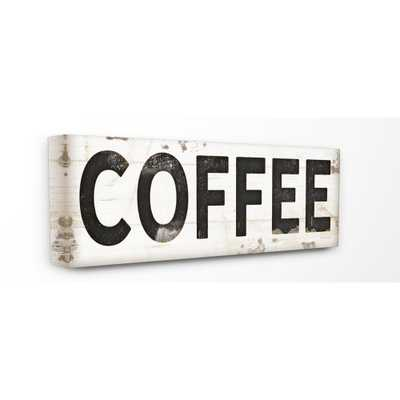 """10 in. x 24 in. """"coffee Typography Vintage Sign"""" by Jennifer Pugh Printed Canvas Wall Art, Multi-Colored - Home Depot"""