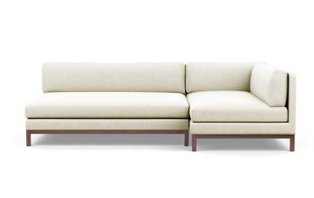 Jasper Chaise Sectional with Vanilla Fabric and Oiled Walnut legs - Interior Define