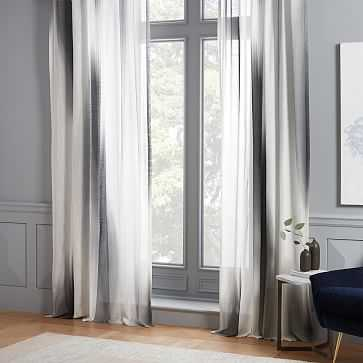 "Diffused Colorblock Curtain, Slate, 48""x84"" - West Elm"