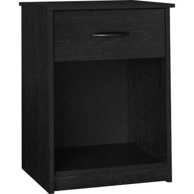 Southwood Black Nightstand, Black/Light Gray Woodgrain - Home Depot