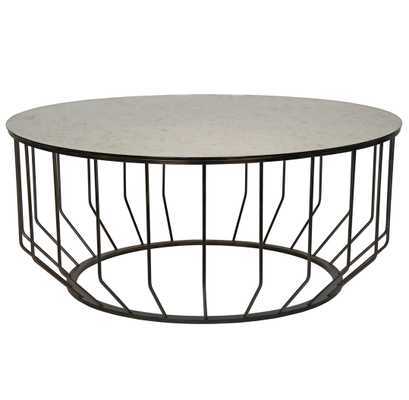 Sandford Industrial Loft Antique Glass Metal Round Coffee Table - Kathy Kuo Home