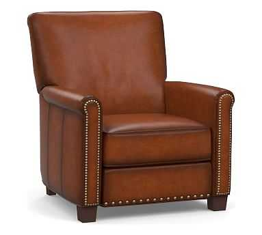 Irving Roll Arm Leather Power Recliner with Bronze Nailheads, Polyester Wrapped Cushions, Burnished Saddle - Pottery Barn