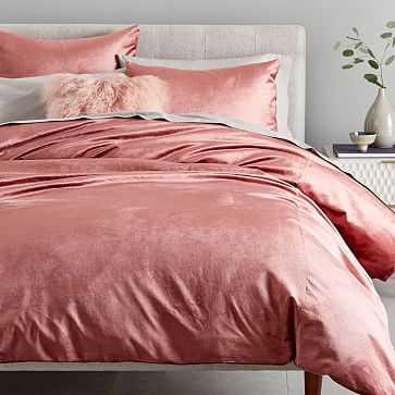 Cotton Luster Velvet Duvet, Full/Queen, Pink Grapefruit - West Elm