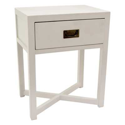 24 in. White Side Table with 1-Drawer - Home Depot