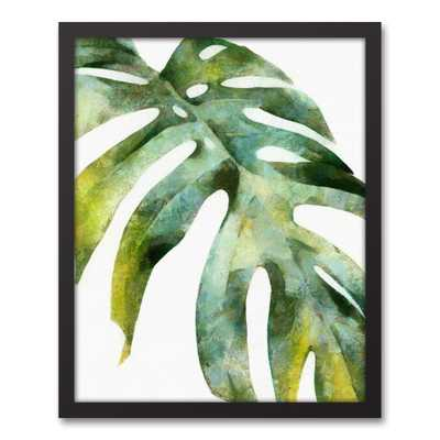 16 in. x 20 in. ''Green Palm Leaf'' Printed Framed Canvas Wall Art - Home Depot