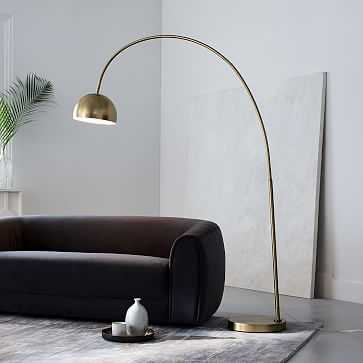 Overarching Metal Shade Floor Lamp, Brass - West Elm