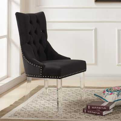 Gobi 39 in. Black Velvet and Acrylic Finish Modern Tufted Dining Chair - Home Depot