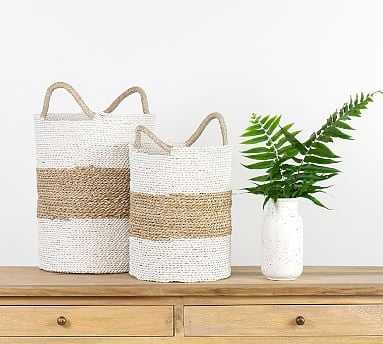 Catalina Woven Baskets, Set of 2 - White/Natural - Pottery Barn