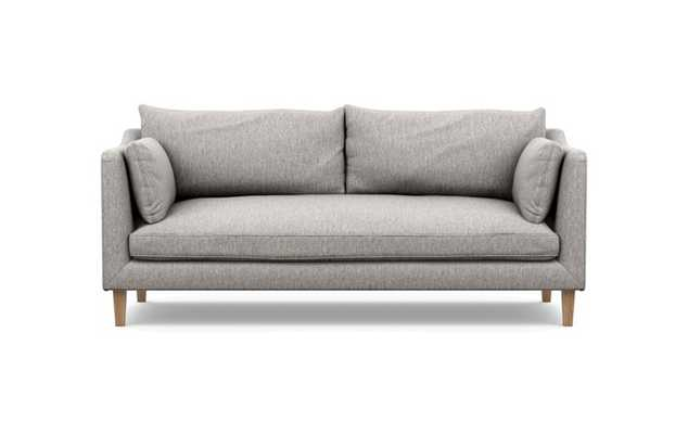 Caitlin by The Everygirl Sofa with Earth Fabric, Natural Oak legs, and Bench Cushion - Interior Define