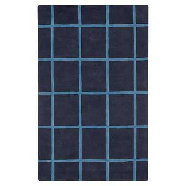 Boxter Plaid Rug, Navy/Blue, 5x8 - Pottery Barn Teen
