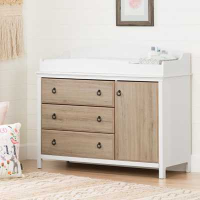 Catimini 3-Drawer Pure White and Rustic Oak Changing Table - Home Depot