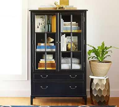 Bronson Bookcase Cabinet, Black - Pottery Barn