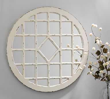 Trellis Mirror, Round - Ivory - Pottery Barn
