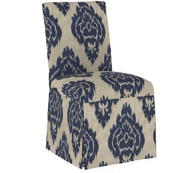 Kimball Upholstered Dining Side Chair, Elina Blue/Ivory - Pottery Barn