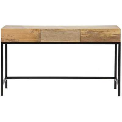 Anjou Natural Desk with Storage - Home Depot