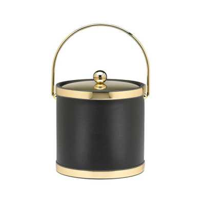 Sophisticates 3 Qt. Black w/Polished Brass Ice Bucket with Bale Handle, Metal Cover - Home Depot