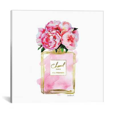 Gold And Pink Perfume Bottle With Pink Peonies by Amanda Greenwood Wall Art, Multi - Home Depot