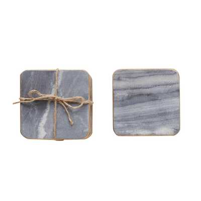 4 in. Gray Marble Coasters, Grays - Home Depot