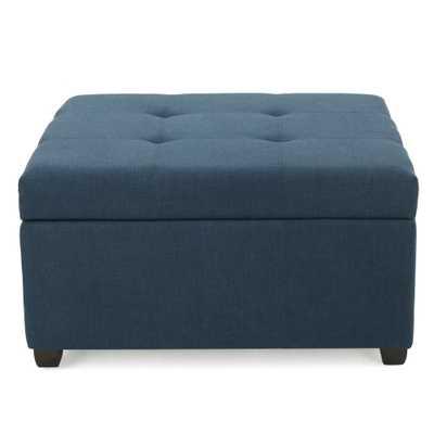 Carlsbad Dark Blue Fabric Storage Ottoman - Home Depot