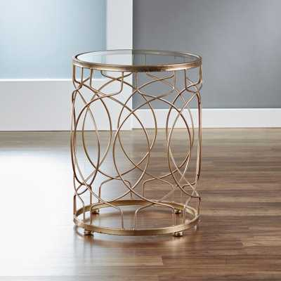 Loop Side Table - Gold, Tempered Glass - Home Depot