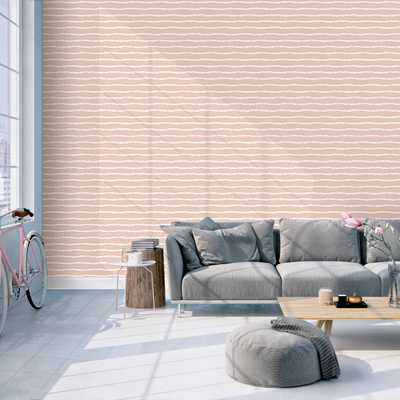 Pink and White Horizontal Stripes Removable Wallpaper - Kathy Kuo Home