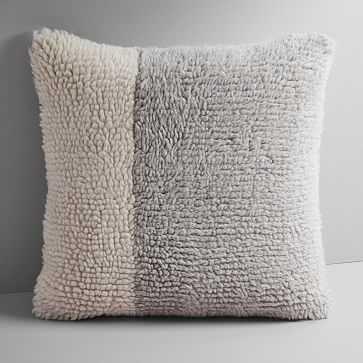 """Colorblock Shag Pillow Cover, Platinum, 20""""x20"""" - West Elm"""
