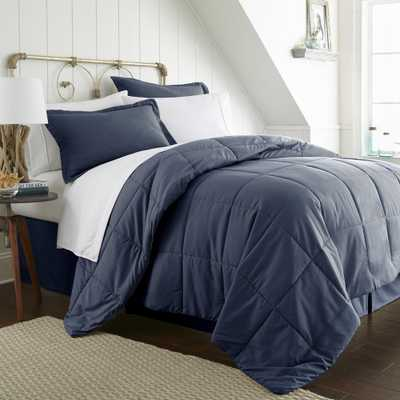Bed In A Bag Performance Navy (Blue) Queen 8-Piece Bedding Set - Home Depot