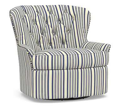 Cardiff Upholstered Swivel Armchair, Polyester Wrapped Cushions, Antique Stripe Blue - Pottery Barn
