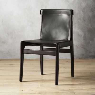 Burano Charcoal Grey Leather Sling Chair - CB2