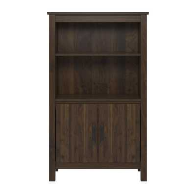 Meadow Ridge Walnut (Brown) 3-Shelf Bookcase with Doors - Home Depot