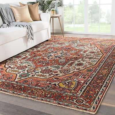 """Bloomsbury Market Al Hand-Knotted Wool Red/Beige Area Rug: Rectangle 7'9"""" x 9'9"""" - eBay"""