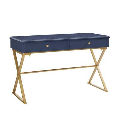 Campaign Blue and Writing Desk with Drawer, Blue/Matte Gold - Home Depot