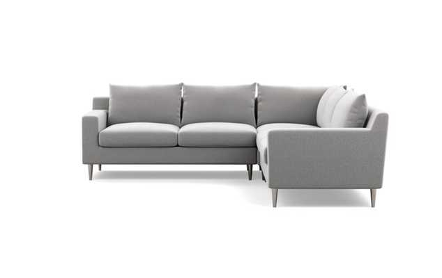 Sloan Corner Sectional with Ash Fabric and Plated legs - Interior Define