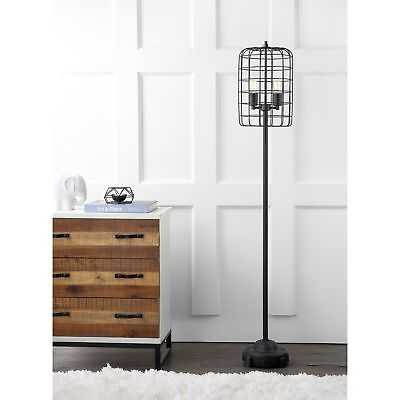 "Odette 65"" Industrial Metal Floor Lamp, Black/Silver - eBay"