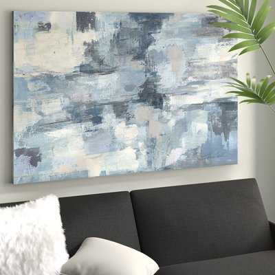 'In The Clouds' Framed Acrylic Painting Print on Canvas in Gray/Indigo - Wayfair