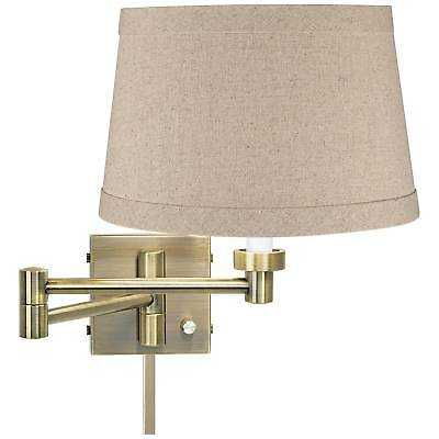 Natural Linen Drum Antique Brass Swing Arm With Cord Cover - eBay