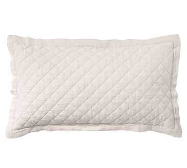 Belgian Flax Linen Diamond Quilted Sham, King, Natural - Pottery Barn