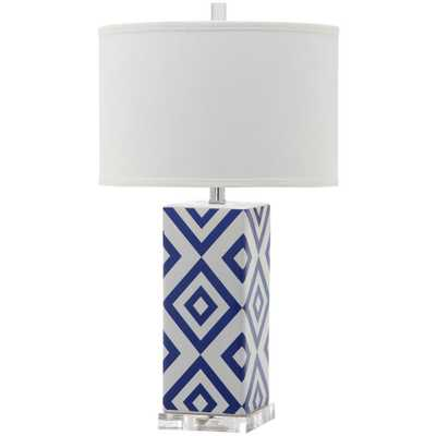 Safavieh Diamonds 27 in. Navy Table Lamp with White Shade - Home Depot