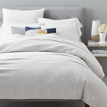 Organic Concentric Squares Jacquard Duvet Cover, Full/Queen, Platinum - West Elm