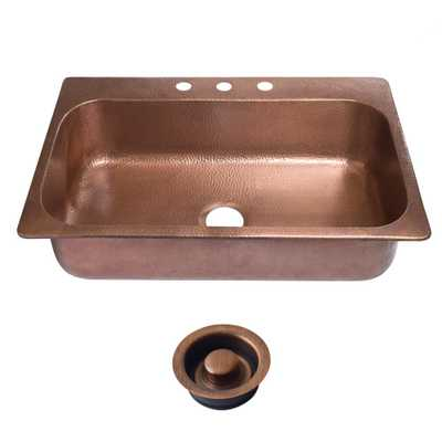 Angelico Drop-In Copper Sink 33 in. 3-Hole Single Bowl Kitchen Sink in Antique Copper and Disposal Drain - Home Depot