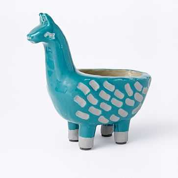 Ceramic Llama Planter, Teal - West Elm