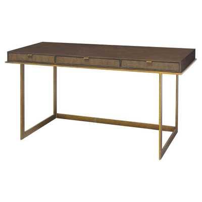 Palecek Lenox Modern Classic Walnut Top Antique Gold Base Desk - Kathy Kuo Home
