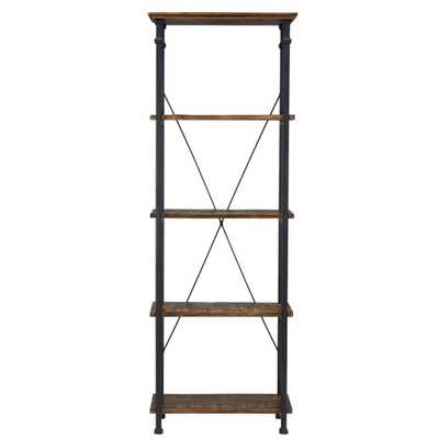 Grove Place Distressed Cocoa Open Bookcase - Home Depot