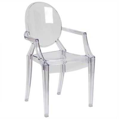 Bowery Hill Ghost Dining Chair with Arms in Transparent Crystal - eBay