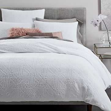 Organic Geo Waffle Jacquard Duvet Cover, Full/Queen, White - West Elm