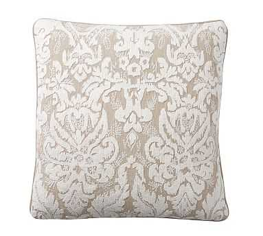 """Akira Embroidered Pillow, 22"""", Ivory/Flax - Pottery Barn"""