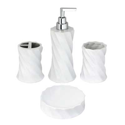 MODONA Flora 4-Piece Bathroom Accessories Set in White Porcelain and Polished Chrome - Home Depot